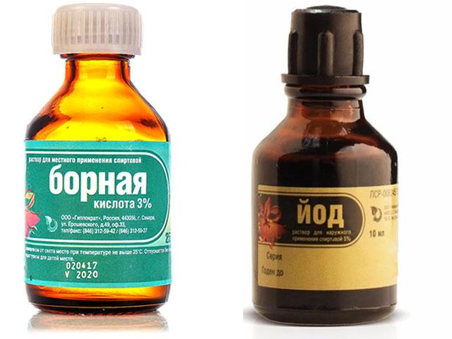 Борная кислота и йод для защиты клубники от болезней и вредителей