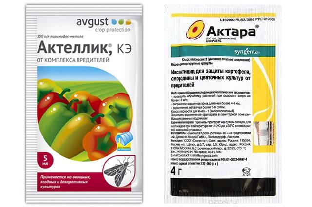 Препараты Актеллик и Актара для защиты клубники от вредителей